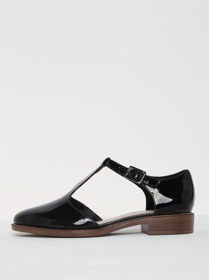 Černé dámské lesklé kožené sandály Clarks Taylor Palm