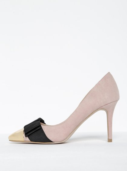 Pantofi stiletto roz pudrat cu vârf ascuțit auriu - Miss KG Alyssa