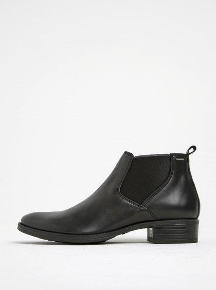 Černé kožené chelsea boty na podpatku Geox Meldi NP