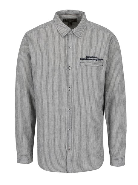 Modro-krémová pánská lněná pruhovaná košile BUSHMAN Mayo 06a6fbdcf2