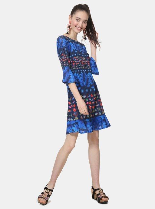 e7707dd898b2 Modré šaty s plameňáky a černým lemem Closet