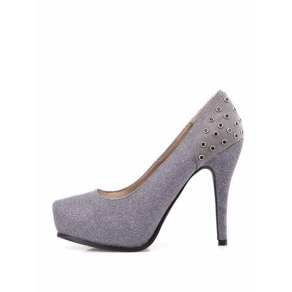 Pantofi gri cu aplicații din pietre decorative de la Victoria Delef de la Victoria Delef in categoria pantofi cu toc