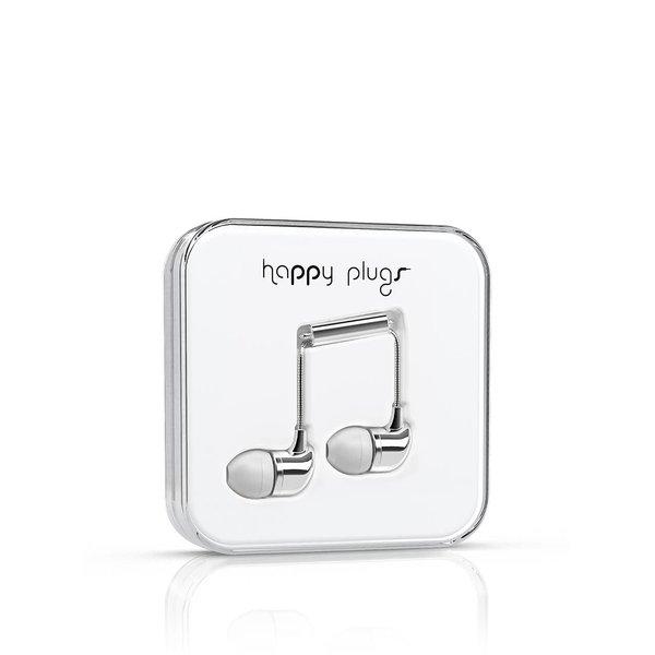 Căști In-Ear Happy Plugs albe, cu detalii argintii