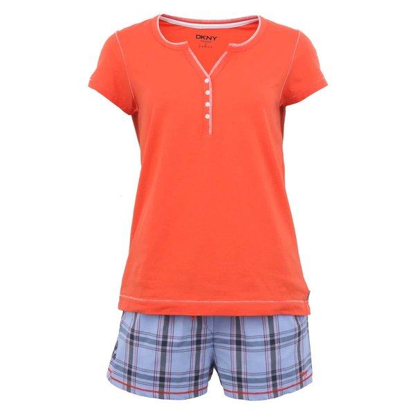 Pijamale portocalii cu șort în carouri de la DKNY de la DKNY in categoria Lenjerie intimă, pijamale, costume de baie