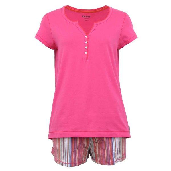 Pijamale roz cu șort în dungi de la DKNY de la DKNY in categoria Lenjerie intimă, pijamale, costume de baie