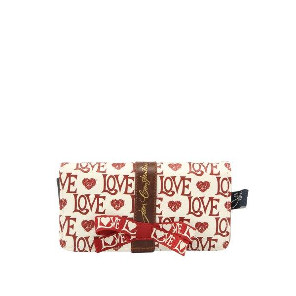 Portofel alb & roșu LOVE Disaster cu fundă