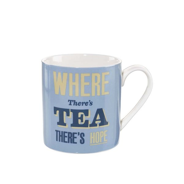 Cană albastră de la Home Front, inscripționată pe partea din față – Where There's Tea
