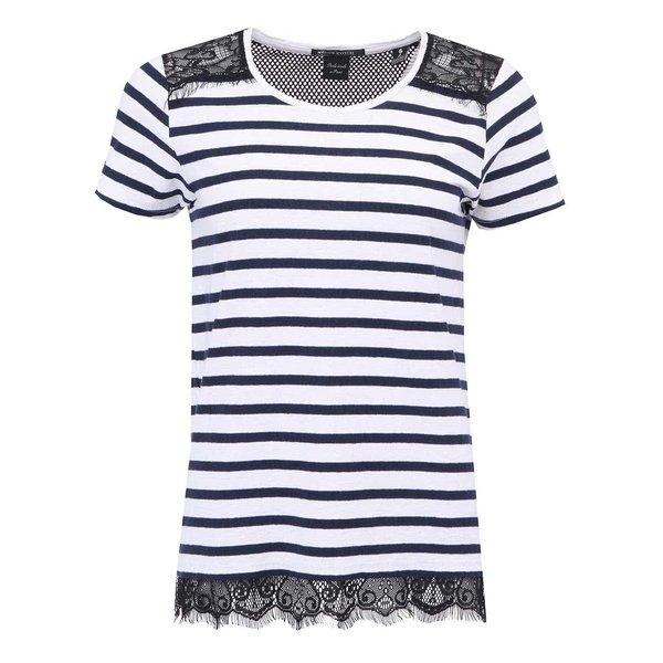 Tricou de damă Scotch & Soda cu dungi albastru și alb, cu dantelă neagră