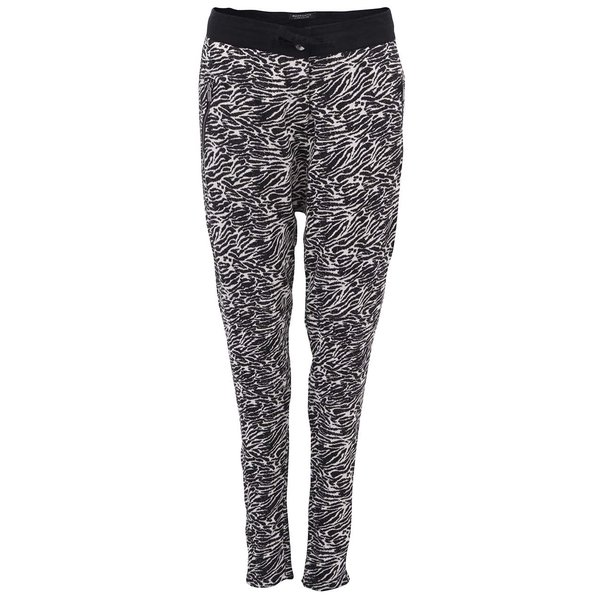Pantaloni de damă Scotch & Soda cu imprimeu zebră negru și alb