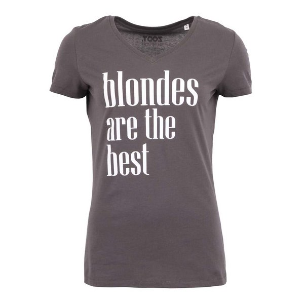 Tricou gri închis ZOOT Original Blondes Are The Best cu print de la ZOOT Original in categoria Topuri, tricouri, body-uri