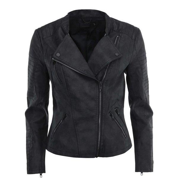 Jacheta biker neagra din piele sintetica ONLY Biker