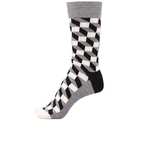 """Șosete bărbătești cu model """"iluzie optică"""" în culorile negru, gri și alb de la Happy Socks"""