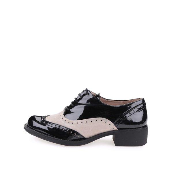 Pantofi oxford bej cu negru aspect lăcuit – OJJU de la OJJU in categoria pantofi și mocasini