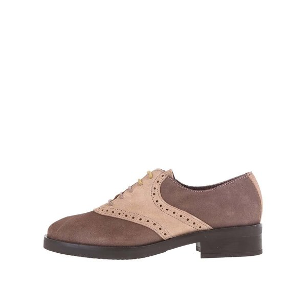 Pantofi Oxford bej cu maro, din piele, OJJU de la OJJU in categoria pantofi și mocasini