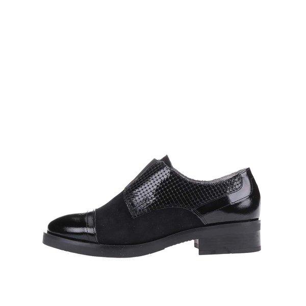 Ghete Oxford slip-on, negre, din piele, OJJU de la OJJU in categoria pantofi și mocasini