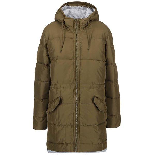 Jachetă lungă matlasată ICHI Sisk - kaki