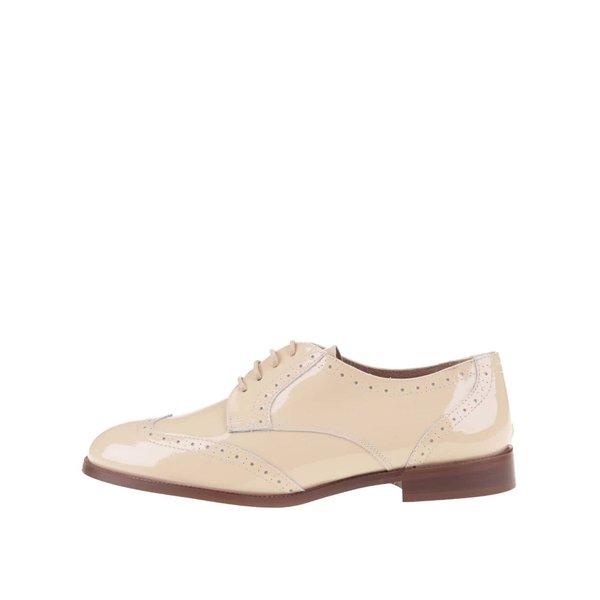 Pantofi brogue din piele lucioasă bej OJJU de la OJJU in categoria pantofi și mocasini