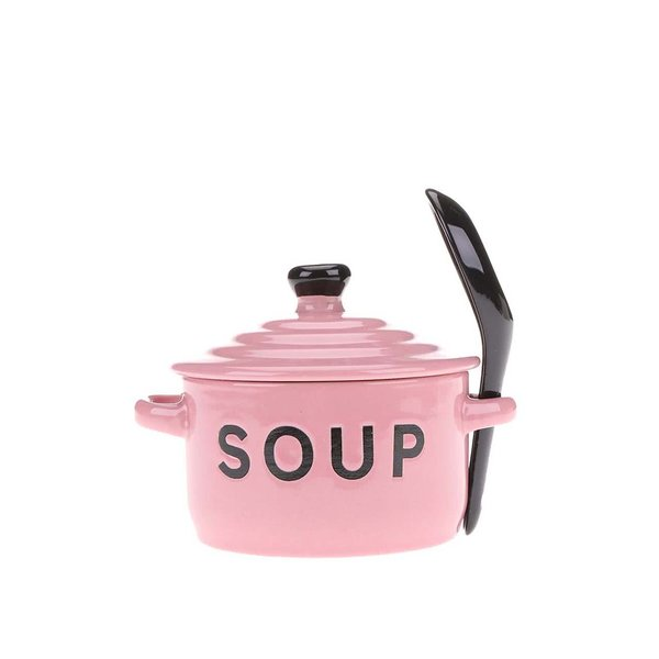Bol și lingură pentru supă CGB de culoare roz deschis