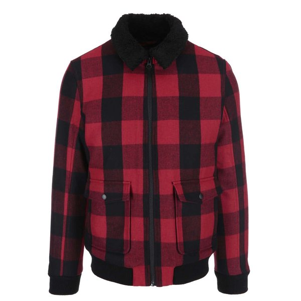 Jachetă cadrilat Teddy Selected Homme – roșu și negru