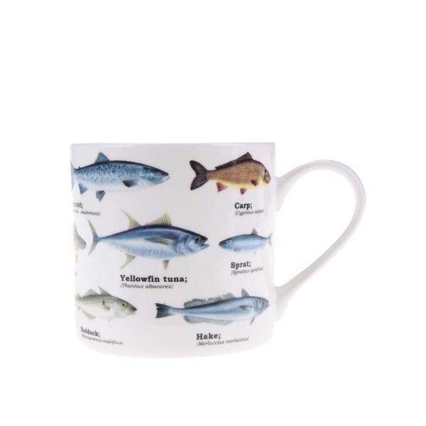 Cană albă cu imprimeu cu pești Gift Republic de la Gift Republic in categoria Bucătăria