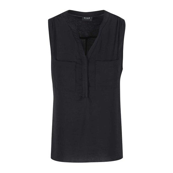 Bluză lejeră neagră fără mâneci VILA Melli de la VILA in categoria Topuri, tricouri, body-uri