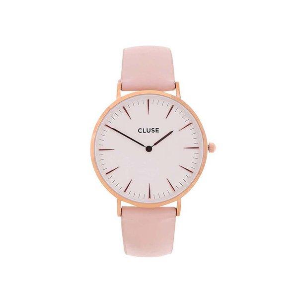 Ceas alb&roz pentru femei - Cluse La Boheme Rose Gold