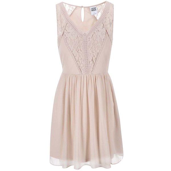 Rochie din dantelă roz deschis VERO MODA Freja de la VERO MODA in categoria rochii de vară și de plajă