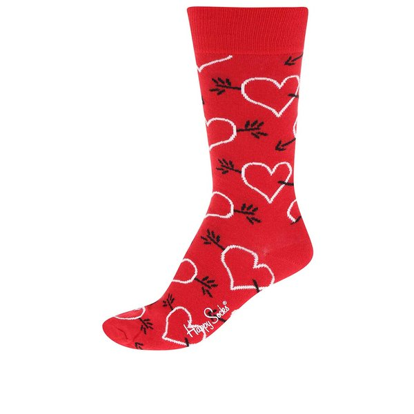 Șosete roșii unisex cu săgeți & inimioare Happy Socks de la Happy Socks in categoria Dresuri si șosete