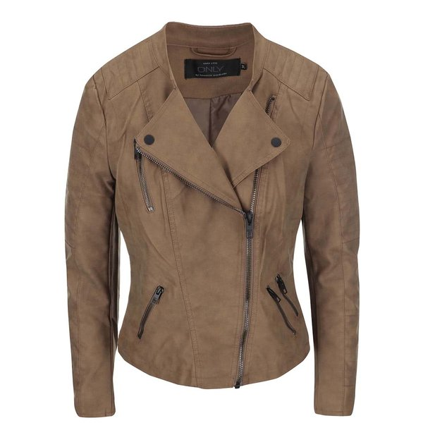 Geacă maro ONLY Biker din piele sintetică de la ONLY in categoria Geci, jachete și sacouri