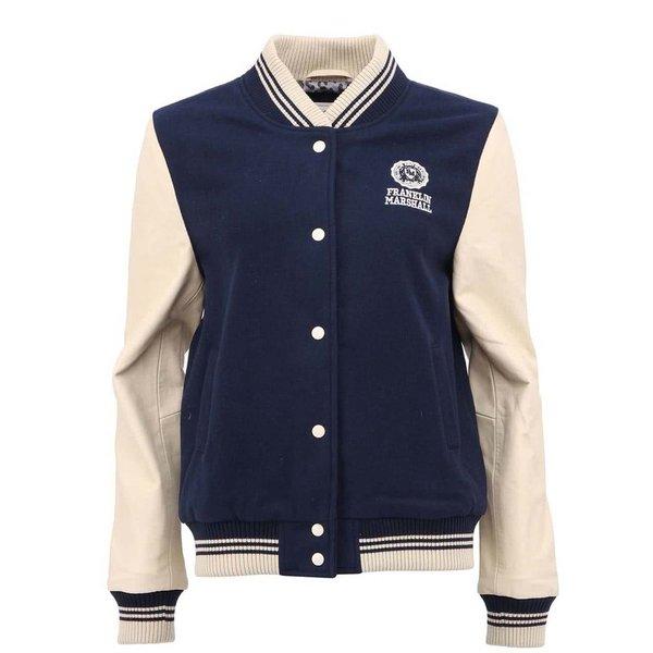 Jachetă albastră de damă Franklin & Marshall cu mâneci din piele de la Franklin & Marshall in categoria Geci, jachete și sacouri