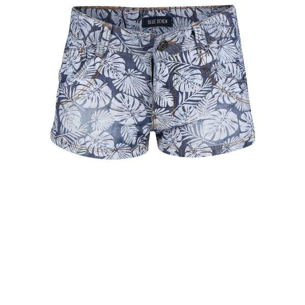 Pantaloni scurți Blue Seven albaștri cu imprimeu cu frunze de la Blue Seven in categoria Pantaloni, pantaloni scurți, colanți