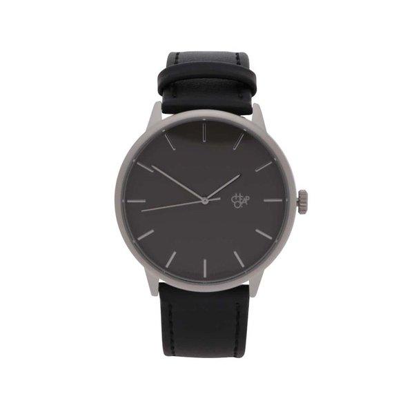 Ceas unisex negru&argintiu cu curea din piele vegan - CHPO Khorshid Metal