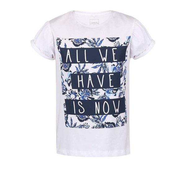 Tricou name it Glitterish alb cu print pentru fete