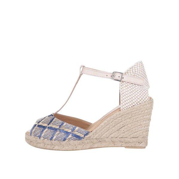 Sandale OJJU cu platformă bej/albastre