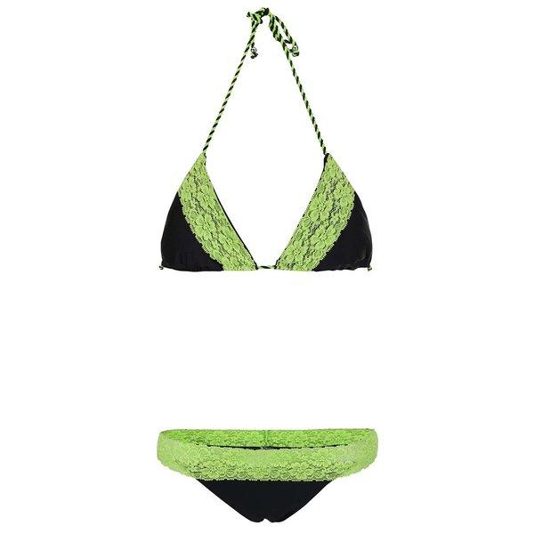 Costum de baie negru Relleciga cu aplicații din dantelă verde de la Relleciga in categoria Lenjerie intimă, pijamale, costume de baie