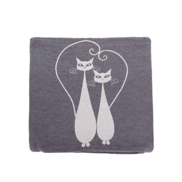 Față de pernă gri cu imprimeu pisici Dakls