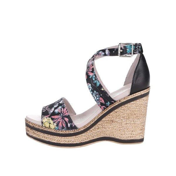 Sandale OJJU cu platformă din piele negre cu model