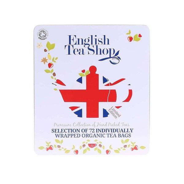 Cutie cadou pentru aniversarea de diamant cu o selecție de 72 de pliculețe cu ceai de la English Tea Shop