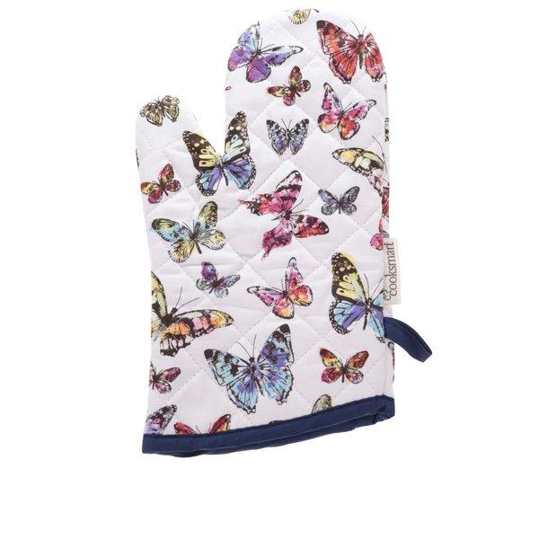 Mânușă Cooksmart Butterfly albă cu imprimeu