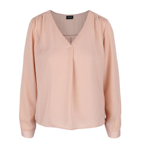 Bluza roz deschis cu decolteu in V - VILA Melli