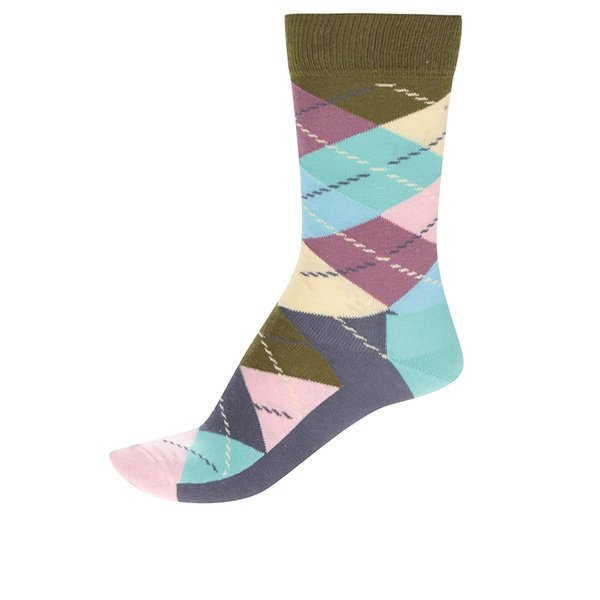 Șosete unisex multicolore Happy Socks Argyle cu imprimeu de la Happy Socks in categoria Dresuri si șosete