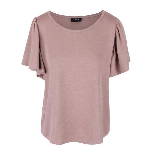 Tricou violet VILA Ramina cu mâneci bufante de la VILA in categoria Topuri, tricouri, body-uri