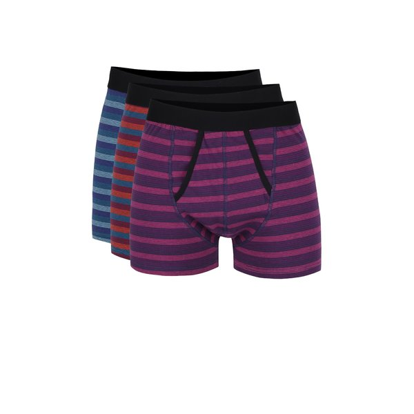 Set de boxeri multicolori cu dungi Burton Menswear London – 3 perechi de la Burton Menswear London in categoria Lenjerie intimă, pijamale, șorturi de baie