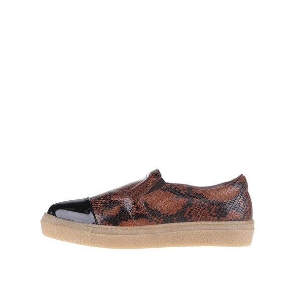 Pantofi loafer maro din piele OJJU Forty cu varf lacuit