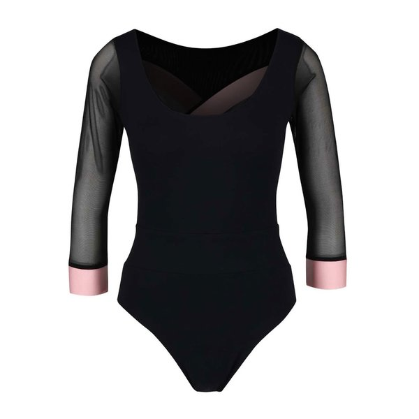Body negru Quontum cu benzi elastice roz de la Quontum in categoria Topuri, tricouri, body-uri