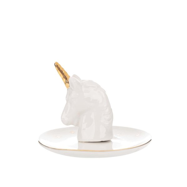 Suport alb pentru bijuterii Sass & Belle Stargazer Unicorn din porțelan