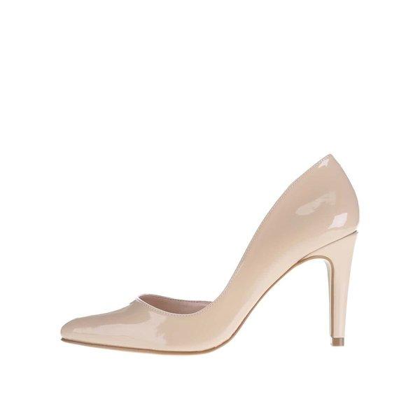 Pantofi bej cu toc OJJU cu decupaj lateral de la OJJU in categoria pantofi cu toc