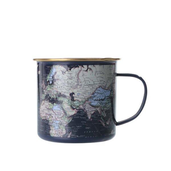 Cană neagră de metal cu hartă imprimată Gift Republic de la Gift Republic in categoria Bucătăria