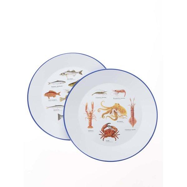 Set 2 farfurii cu imprimeu cu pești Gift Republic de la Gift Republic in categoria Bucătăria