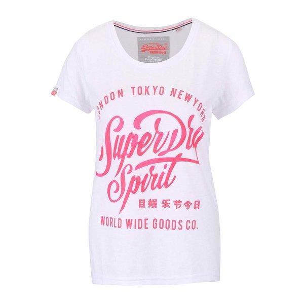Tricou alb Superdry cu imprimeu roz de la Superdry in categoria tricouri